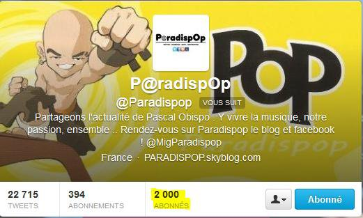 @Paradispop plus de 2 000 abonns sur TWITTER 